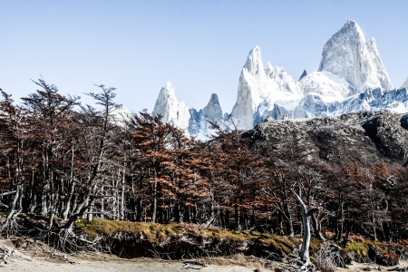fitz roy: Nature landscape with Mt. Fitz Roy in Los Glaciares National Park, Patagonia, Argentina ( HDR image ) Stock Photo
