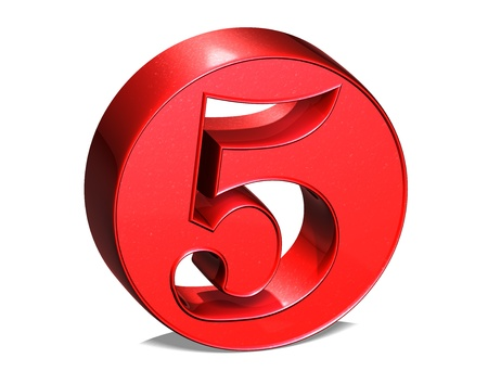 3D shiny red number collection over white background  photo