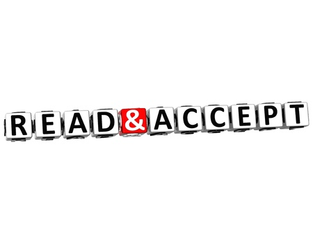 3D Read and Accept Crossword on white background Stock Photo - 17780415