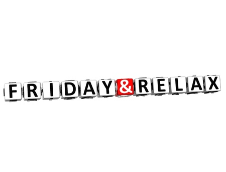 3D Friday and Relax Crossword Block text on white background Stock Photo - 17780410