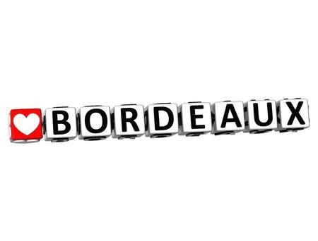bordeaux: 3D I Love Bordeaux Crossword Block text on white background