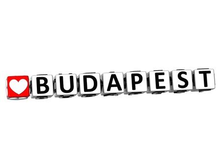 3D I Love Budapest Crossword Block text on white background