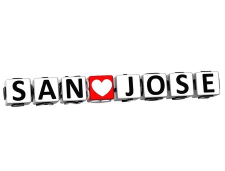 3D I Love San Jose Crossword Block text on white background Stok Fotoğraf