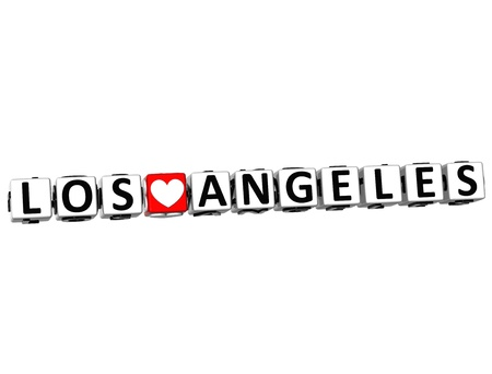 3D I Love Los Angeles Crossword Block text on white background photo