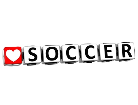 3D I Love Soccer Game Button Block text on white background photo