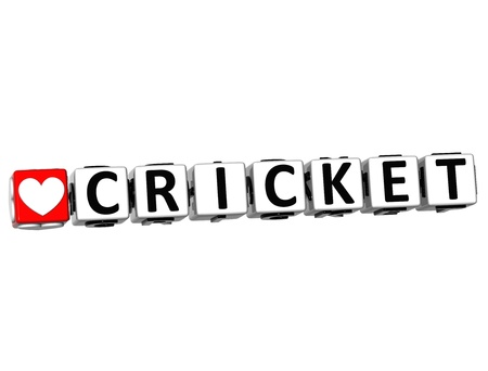 3D I Love Cricket Game Button Block text on white background photo