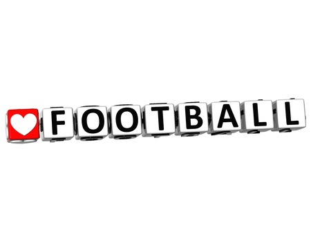 3D I Love Football Game Button Block text on white background photo