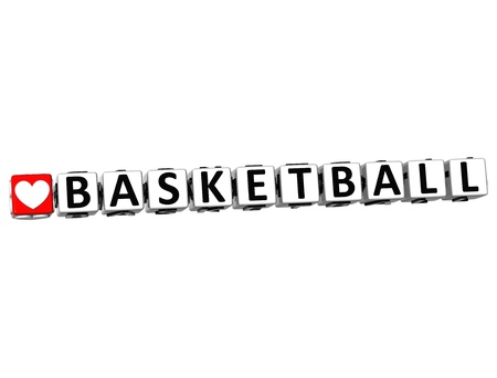 3D I Love Basketball Game Button Block text on white background photo