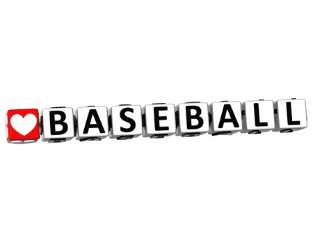 3D I Love Baseball Game Button Block text on white background photo