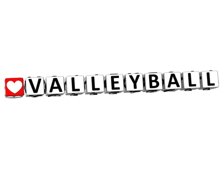 3D I Love Valleyball Game Button Block text on white background photo