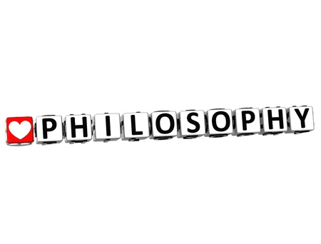 3D I Love Study Philosophy Button Block text on white background photo