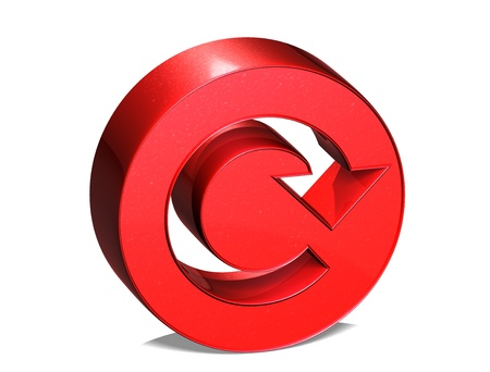 reiterate: 3D Reload Red Sign over white background  Stock Photo