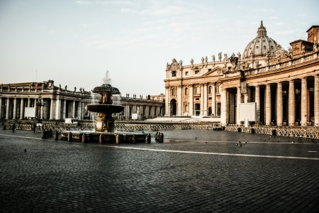 Vatican City, Vatican. Saint Peter's Square is among most popular pilgrimage sites for Roman Catholics.  photo