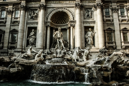 Trevi Fountain, Rome - Italy. Trevi Fountain (Fontana di Trevi) is one of the most famous landmark in Rome. photo