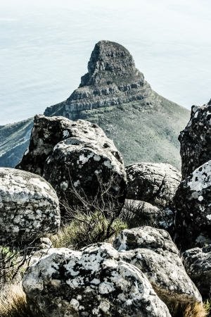 View of Table Mountain with city (Cape Town, South Africa)  photo