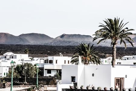 turreted: Traditional house, Lanzarote, Canary islands, Spain  Stock Photo