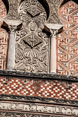 mudejar: Arabian arches in spanish town of Cordoba, symbol of the arabian domination in Middle Age, in mudejar style.  Stock Photo