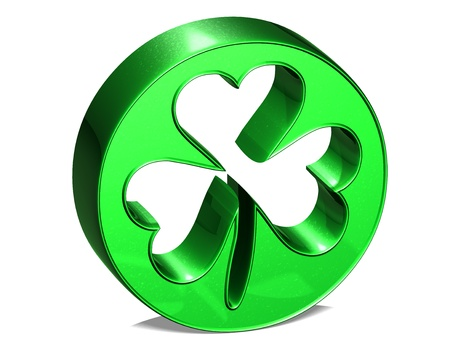 fortunateness: 3D green clover over white background