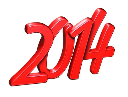 3D Year 2014 on white background  Stock Photo - 17835932