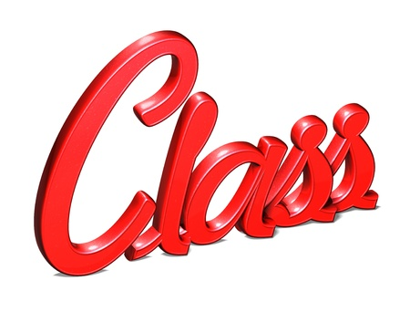 3D Red Word Class on white background photo