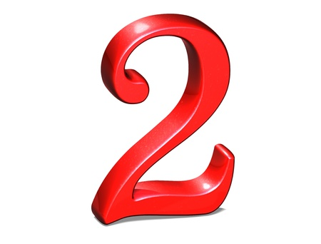 number zero: 3D Set red number on white background