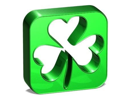 3D green clover over white background  Stock Photo - 17835861
