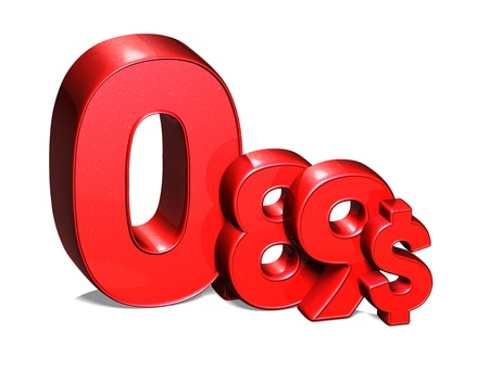 usd: 3D Red Special Price USD collection over white background