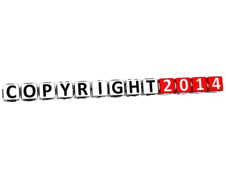 3D Copyright Right Crossword on white background  photo
