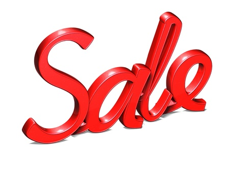 Sale word isolated on white background  photo
