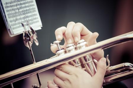 Vintage trombones playing in a big band. Standard-Bild