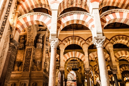 archway: The Great Mosque or Mezquita famous interior in Cordoba, Spain