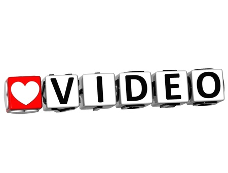 3D Love Video Button Click Here Block Text over white background  photo