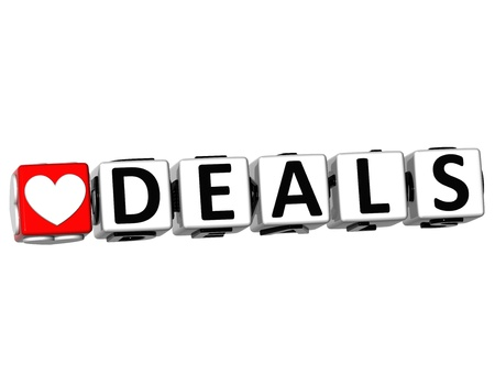 3D Love Deals Button Click Here Block Text over white background Stock Photo - 18140584