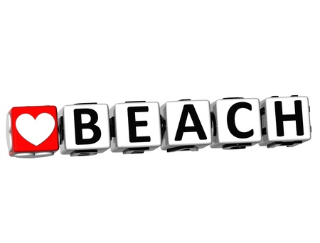 3D Love Beach Button Click Here Block Text over white background  photo