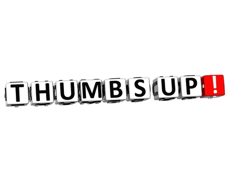 3D Thumbs Up Button Click Here Block Text over white background Stock Photo - 18132515