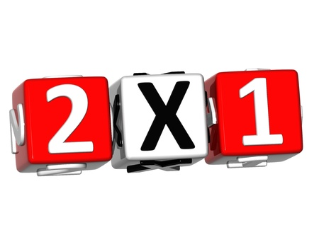 3D Two For One Button Click Here Block Text over white background
