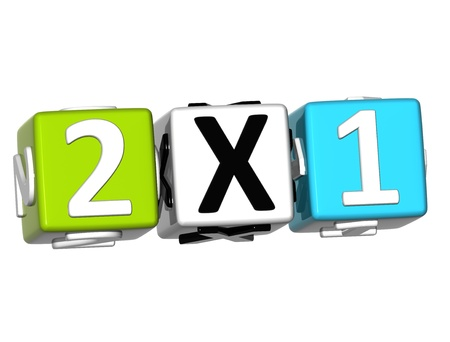3D Two For One Button Click Here Block Text over white background  photo