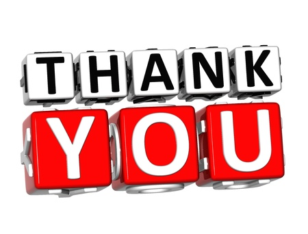 3D Thank You Button Click Here Block Text over white background