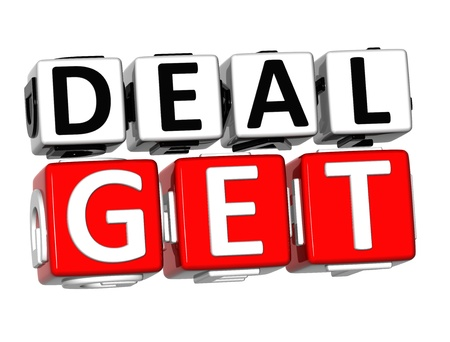 3D Get Deal Button Click Here Block Text over white background  photo