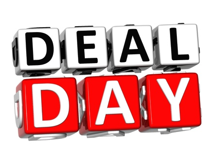 3D Day Deal Button Click Here Block Text over white background  photo