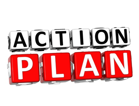 take action: 3D Action Plan Button Click Here Block Text over white background