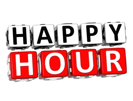 sales team: 3D Happy Hour Button Click Here Block Text over white background  Stock Photo