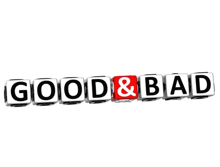 3D Good And Bad Button Click Here Block Text over white background  photo
