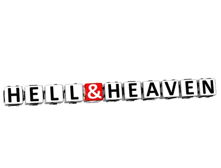 3D Hell And Heaven Button Click Here Block Text over white background  photo