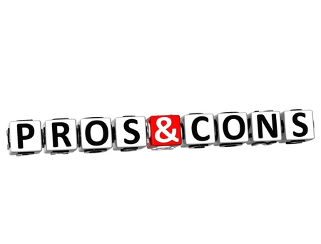 3D Pros And Cons Button Click Here Block Text over white background  photo
