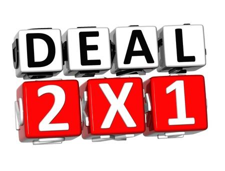 3D Deal Two For One Button Click Here Block Text over white background Stock Photo - 18140793