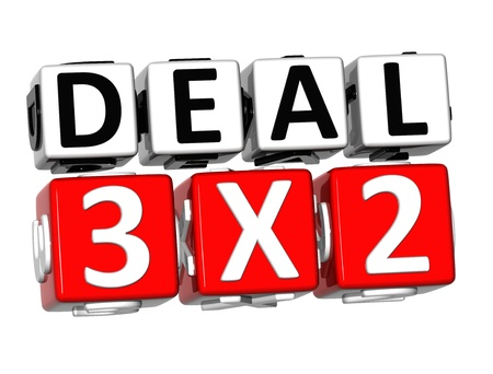 3D Deal Three For Two Button Click Here Block Text over white background  photo