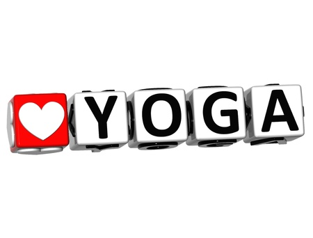 3D Love Yoga Button Click Here Block Text over white background  photo