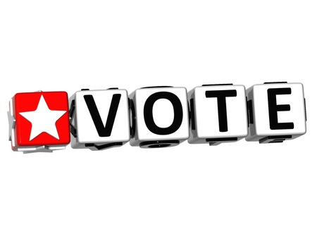 vote here: 3D Vote Button Click Here Block Text over white background