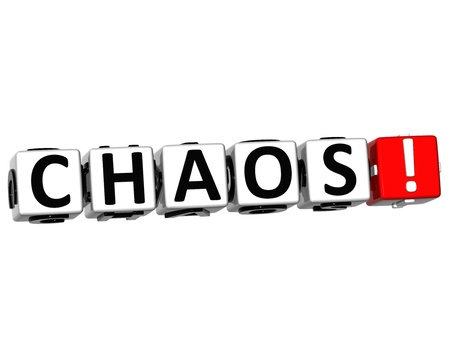 chaos theory: 3D Chaos Button Click Here Block Text over white background